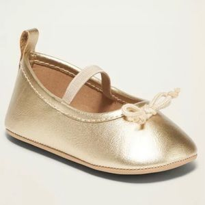 Metallic Faux-Leather Ballet Flats for Baby (3-6M)